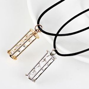Jewelry - Floating Crystal Bar Pendant Leather Necklace